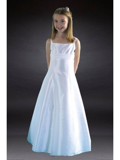 Communion Dress with Taffeta and Band & Beaded Bodice:...