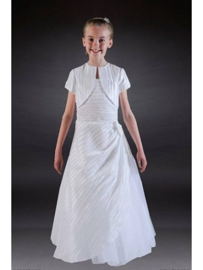 Holy Communion Dress with Pleat Taffeta and lovely jacket:...