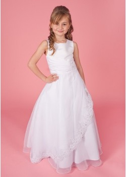 Sleeveless Ruched Holy Communion Dress with Satin & Organza Lace Trimmed Skirt: