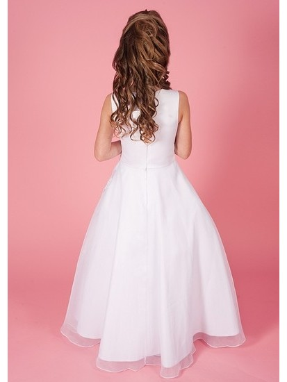 Sleeveless Ruched Holy Communion Dress with Satin & Organza Lace Trimmed Sk...