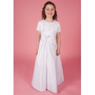 Round Neck Holy Communion Dress with Beaded Lace Detail Bodice Satin with flower detail on waist & Jacket
