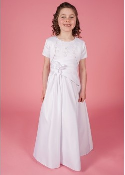 Holy Communion Dress with Round Neck Beaded Lace Detail Bodice Satin with flower detail on waist & Jacket: