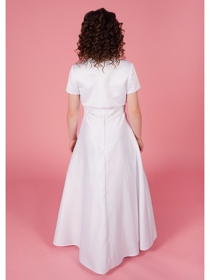 Holy Communion Dress with Round Neck Beaded Lace Detail Bodice Satin with f...