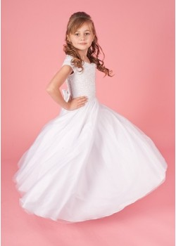 Beaded Bodice with Full Tulle Skirt Holy Communion Dress: