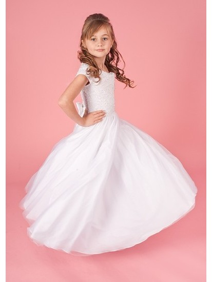 Beaded Bodice with Full Tulle Skirt Holy Communion Dress:...