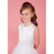 Holy Communion Dress with Beaded Satin Bodice Organza Layered Skirt:
