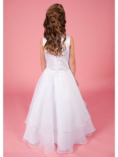 Holy Communion Dress with Beaded Satin Bodice Organza Layered Skirt:...