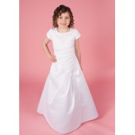 Holy Communion Dress with Beaded Satin Pleat Effect Ruching Short Sleeve