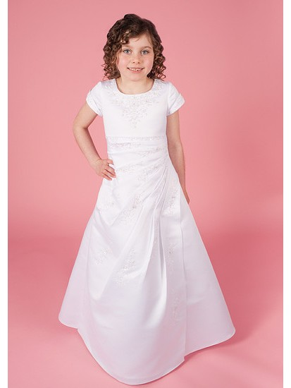 First Holy Communion Dress with Beaded Satin Pleat Effect Ruching Short Sle...