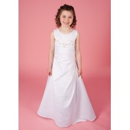 Holy Communion Dress with Ornate Beaded Bodice Satin A Line Dress