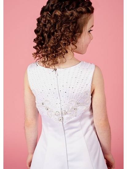 Holy Communion Dress with Ornate Beaded Bodice Satin A Line Dress...