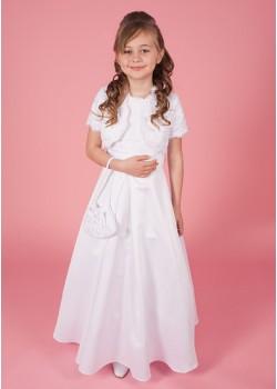 Holy Communion Dress with Lace Bodice & Jacket Plain Satin Skirt &  Matching Bag