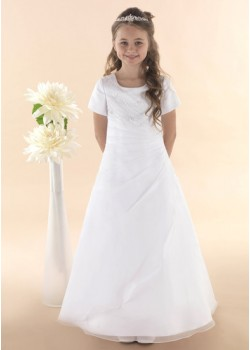 First Holy Communion Dress with Organza Beaded Ruched Detail :