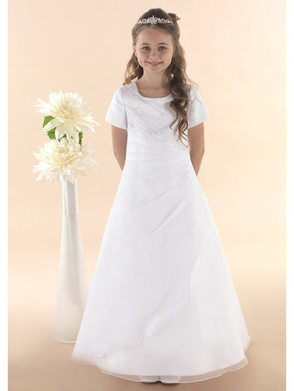First Holy Communion Dress with Organza Beaded Ruched Detail :...