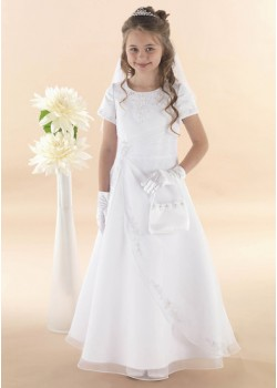 Apron Style With Short Sleeves Holy Communion Dress: