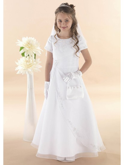 Apron Style With Short Sleeves Holy Communion Dress:...