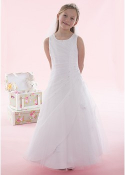 Side Ruched Beaded Holy Communion Dress