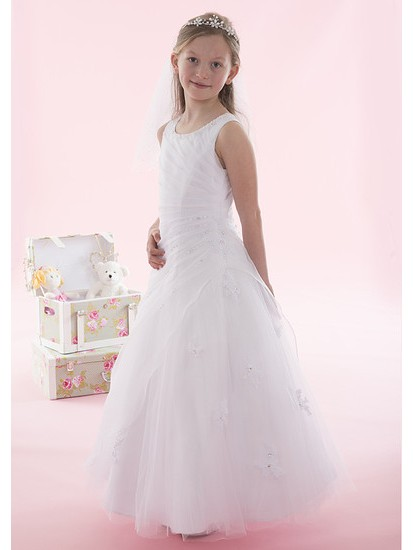 Side Ruched Beaded Holy Communion Dress...