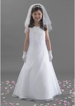 A Line Full Length Gorgeous Beaded Organza First Holy Communion Dress: