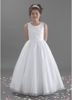 Full Length Beaded Satin Bodice and Tulle Skirt Holy Communion Dress: