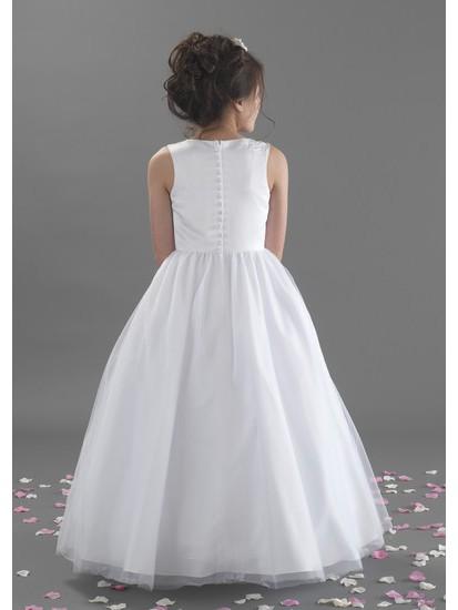 Full Length Beaded Satin Bodice and Tulle Skirt Holy Communion Dress:...