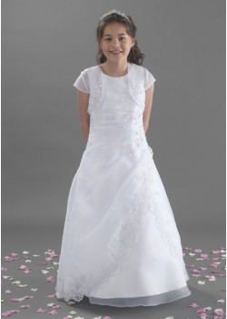 Full Length Holy Communion Dress with Beaded Lace along Jacket