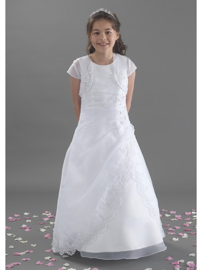 Full Length Holy Communion Dress with Beaded Lace along Jacket:...