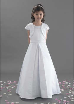 Holy Communion Dress in with Satin Beaded Bodice with Pleat Effect with Jacket: