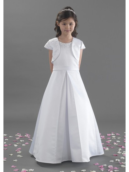 Holy Communion Dress in with Satin Beaded Bodice with Pleat Effect with Jac...