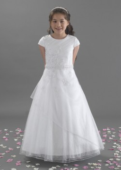 Long Beaded Tulle Holy Communion Dress with Belt and Short Sleeves