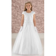 Satin and Tulle Communion Dress with Peplum Detail: