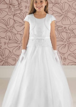 Satin and Tulle Communion Dress with Peplum Detail