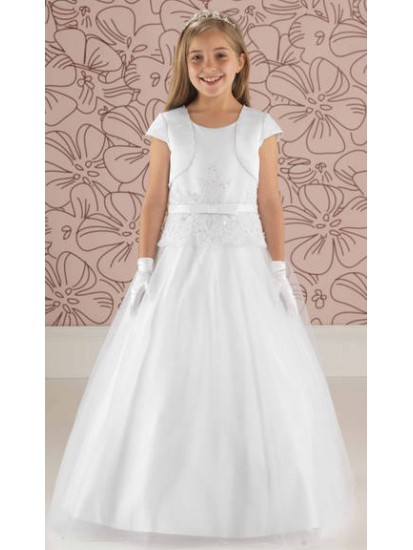 Satin and Tulle Communion Dress with Peplum Detail:...