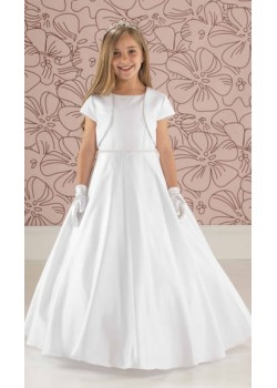 Plain Satin Communion Dress with Slimline Beaded Belt: