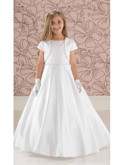 Plain Satin Communion Dress with Slimline Beaded Belt:...