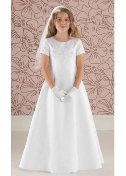 Satin A Line First Holy Communion Dress with Lace Detail: