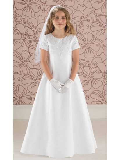 Satin A Line First Holy Communion Dress with Lace Detail:...