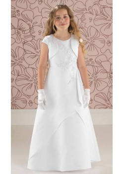 Satin Beaded A Line First Communion Dress With Matching Jacket:
