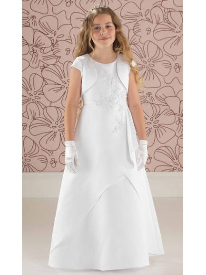 Satin Beaded A Line First Communion Dress With Matching Jacket:...