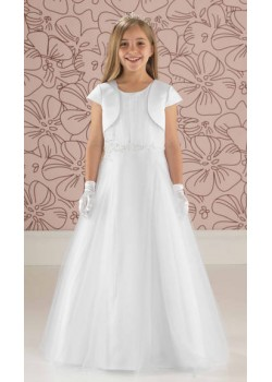 Free plain short sleeve satin jacket included with this Full Length Tulle Communion Beaded Dress
