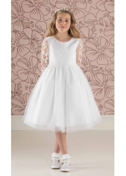 Short First Communion Dress with Lace Bodice: