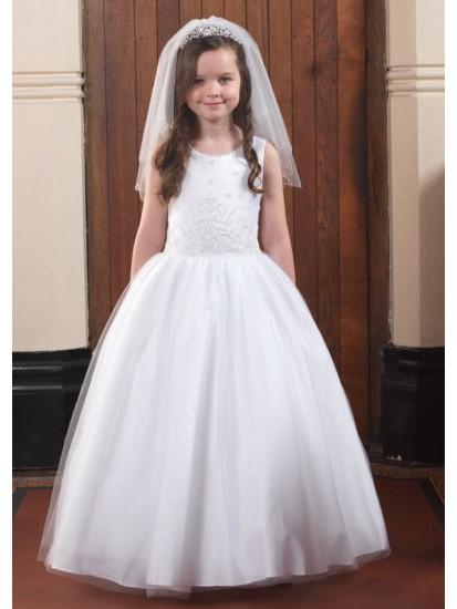 Full skirt sleeveless Holy Communion gown:...