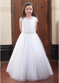 Full Skirt First Communion Gown with Short Lace Sleeves:
