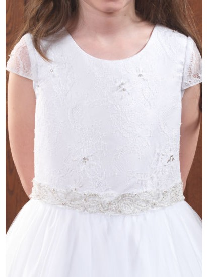 Full Skirt First Communion Gown with Short Lace Sleeves:...