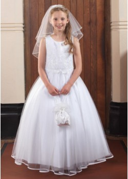 Beautiful First Communion Dress with Ribbon Edged Skirt and Sleeveless Beaded Bodice: