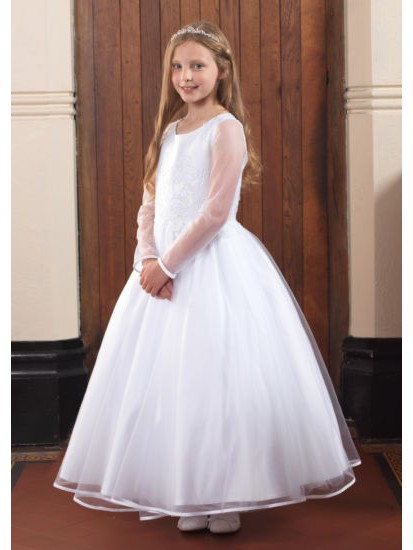 Beautiful First Communion Dress with Ribbon Edged Skirt and Sleeveless Bead...
