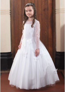 Long Sleeve Lace Holy Communion Dress:
