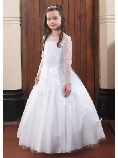 Long Sleeve Lace Holy Communion Dress:...