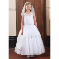 Illusion neckline communion gown with will skirt and lace detail and beading around the waist