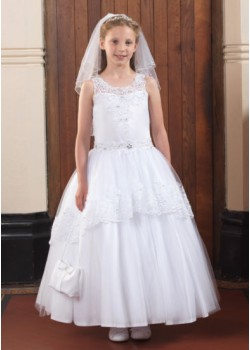 Illusion neckline Holy Communion gown with will skirt and lace detail and beading around the waist :